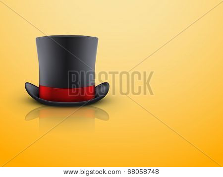 Black gentleman hat cylinder and red ribbon.