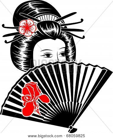 Portrait Of Japanese Girl With Fan.
