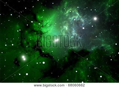 Green Cold Hydrogen Clouds In The Nebula