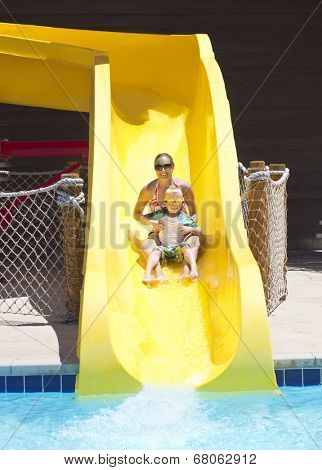 Fun on the water slide at waterpark