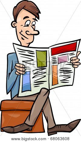 Man With Newspaper Cartoon Illustration