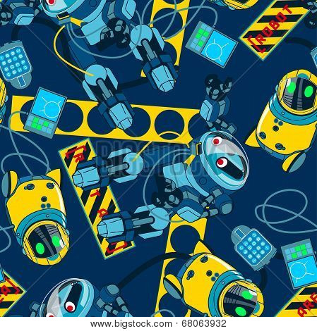 Robot Area With Navy Background Seamless Pattern