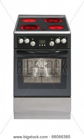 Modern electric cooker isolated on white