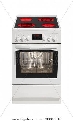 Modern white stove isolated on white