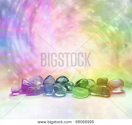 Rainbow crystals on a rainbow background