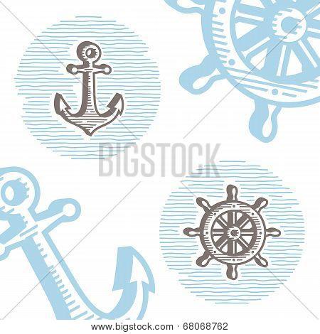 Vintage marine symbols vector icon set: engraving anchor and wheel