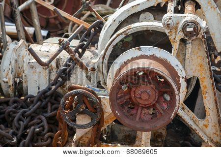 Fragment Of Rusted Bow Anchor Winch On Abandoned Ship