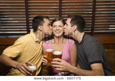 Two Men Kissing Young Woman