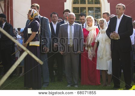 TIKHVIN, RUSSIA - JULY 9, 2014: Leningrad Region Governor Alexander Drozdenko (R) during c�elebrations on the occasion of the 10th anniversary of the return of the Tikhvin icon of the Mother of God.