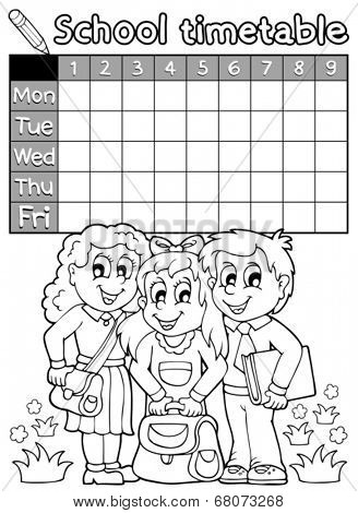 Coloring book school timetable 4 - eps10 vector illustration.