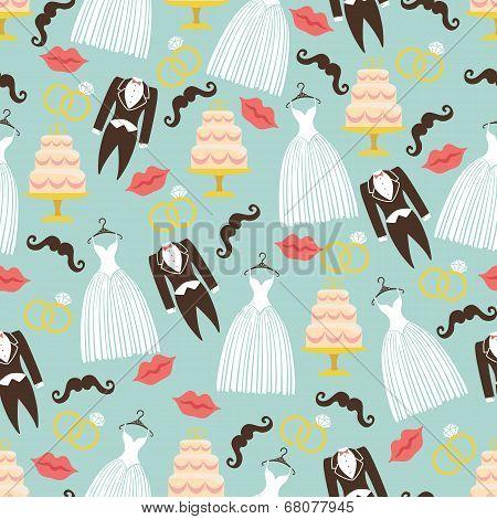 Vintage Wedding Seamless Pattern Set.tuxedo,dress,cake