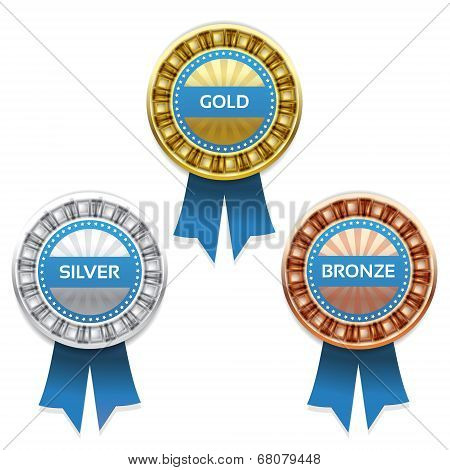 Gold silver and bronze awards. Vector. eps 10