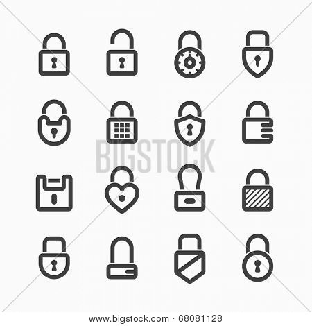 Padlock icons. Vector.