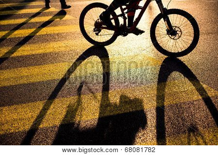 Biker/Cyclist on a crossing in a city casting a long shadow