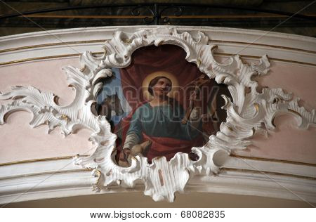 SCHMERLENBACH, GERMANY - JULY 19: Angel, Sanctuary of St. Agatha in Schmerlenbach in the Diocese of Wurzburg on July 19, 2013.