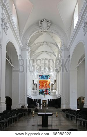 WURZBURG, GERMANY - JULY 18: St. Augustine's Church is a Catholic church in Wurzburg. The monastery church of the Augustinian Order is located in the city center, on July 18, 2013.
