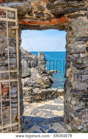 Ligurian coast. View from the old fortress in Portovenere town, Italy