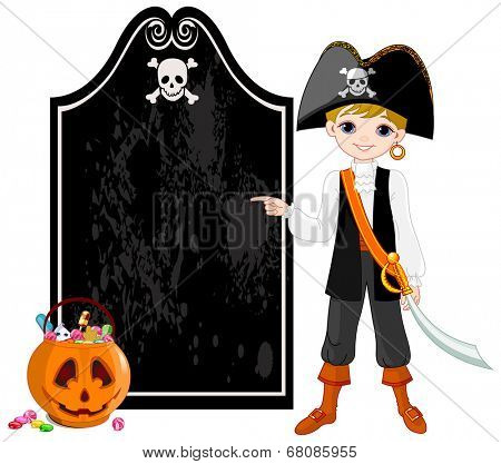 Pointing boy dressed as pirates for Halloween party