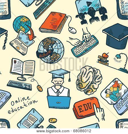 Online education seamless pattern