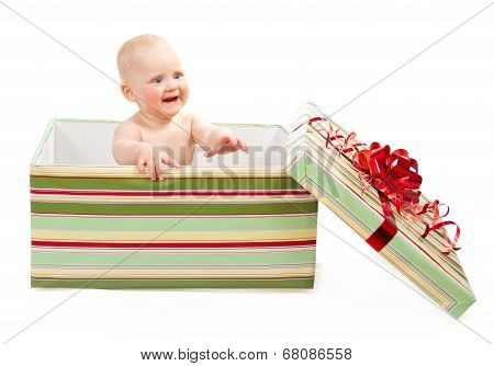 Happiness child in gift box
