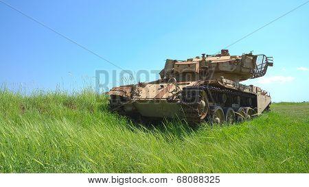 Rusty Heavy Tank Near The Israeli Syrian Border