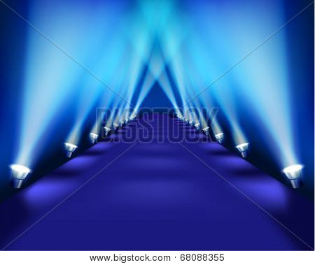 Stage during the performance. Vector illustration.