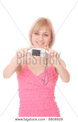 Woman Talking A Picture With A Digital Camera