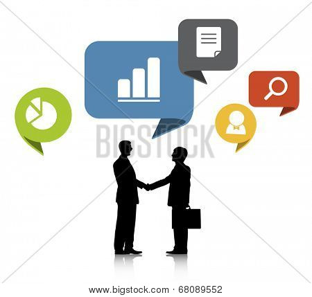 Silhouettes of Two Businessmen Shaking Hands and Work Symbols