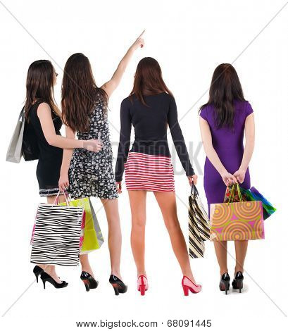 group of people with shopping bag. rear view. Isolated over white.