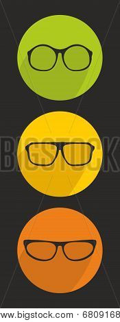 Glasses vector icon set isolated on black background.