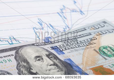 Stock Market Chart With 100 Dollars Banknote - Studio Shot