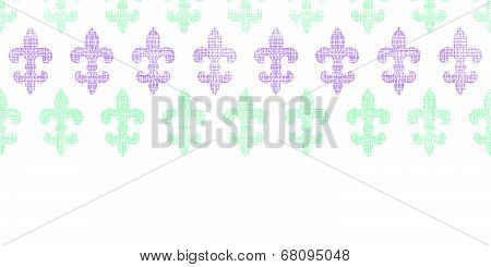 Abstract textile fleur de lis stripes horizontal seamless pattern background
