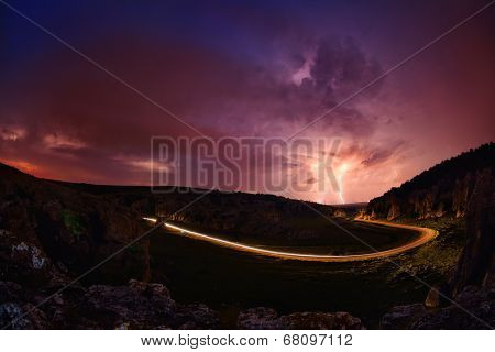 Lightening and storm over hills in the night, Dobrogea, Romania