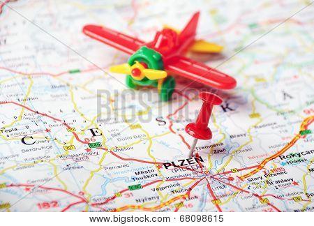 Pilsen, Czech Republic  Map Airplane