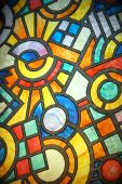 stock photo of stained glass  - stained glass texture closeup view from inside - JPG