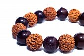 picture of prayer beads  - Ancient beads made from wood to use in prayer - JPG
