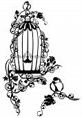 stock photo of caged  - open bird cage twined with rose flowers with a little bird sitting free  - JPG