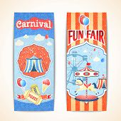 stock photo of carnival ride  - Amusement entertainment carnival theme park fun fair vintage vertical banners isolated vector illustration - JPG