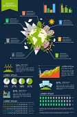 image of environmentally friendly  - Ecology environmentally friendly energy planet infographic set with graphs and charts vector illustration - JPG