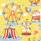 pic of funfair  - Amusement entertainment park seamless pattern with ferris wheel ice cream popcorn vector illustration - JPG