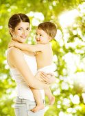 foto of diaper  - Mother baby happy smiling - JPG