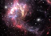 picture of nebula  - Space background with red nebula and stars - JPG
