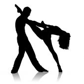 picture of jive  - Black silhouette of dancing couple on a white background - JPG