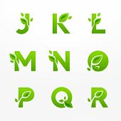 stock photo of letter j  - Vector set of green eco letters with leaves - JPG