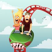 picture of funfair  - Couple have date in roller - JPG