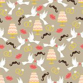 pic of wedding feast  - Vintage wedding symbols in seamless pattern set - JPG