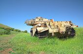 foto of golan-heights  - Destroyed rusty Centurion Shot Kal tank on Golan Heights - JPG