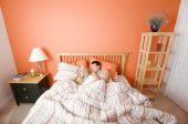 stock photo of shelving unit  - High angle view of young couple sleeping closely together under a striped bedspread - JPG