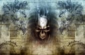 picture of hells angels  - Heaven and hell with a skull and angels - JPG