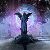 picture of metal sculpture  - Alien robot ship lightning statue artwork illustration - JPG